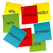 Paper notes set with positive words