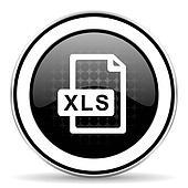 xls file icon, black chrome button