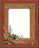 Christmas border plaid gingerbread