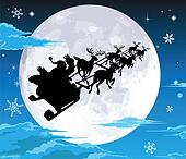 Santa in sled silhouette against full moon