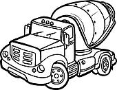 Cartoon concrete mixer. Border