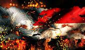 United Nations Indonesia National Flag War Torn Fire International Conflict 3D