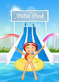 girl in water park