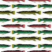 Pike seamless pattern.