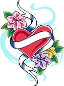 floral heart emblem design