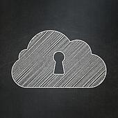 Cloud networking concept: Cloud With Keyhole on chalkboard background