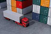 Red truck in container port