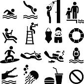Swimming Pool Sea Beach Icon Symbol