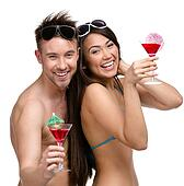 Half-length portrait of half-naked couple with cocktails