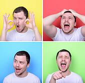 Collage of man with different facial expressions against multicolored backgrounds