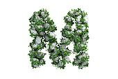 Stone letter M covered with ivy, isolated