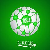 Planet with green eco net and icon