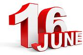 June 16. 3d text on white background.