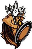Viking Norseman Mascot Standing wit