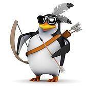 3d Penguin with bow and arrow