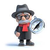 3d Grandpa holding a compass
