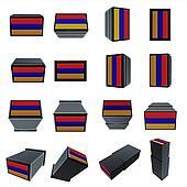 armenia flags 3D Box with  mesh texture
