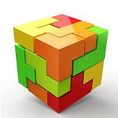 3D Cubes colored abstraction