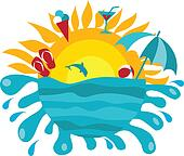 background of sun and ocean with summer items
