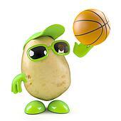 3d Potato shoots the basketball