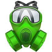 Green gas mask respirator.