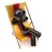 Man chilling relaxing beach deck chair carefree sunburn rest