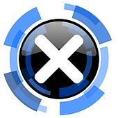 cancel black blue glossy web icon