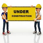3D construction workers with a sign