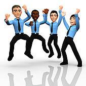 3D happy business men
