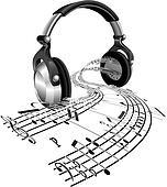 Headphones sheet music notes concept