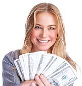Cute girl winning money
