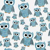 Blue Owls on White Textured Fabric Repeat Pattern Background