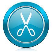 scissors blue icon cut sign