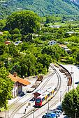 train at railway station in Entrevaux, Provence, France