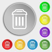 the trash icon sign. Symbol on eight flat buttons.