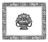 art nouveau floral frame