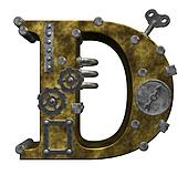 steampunk letter d