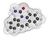 Carbamazepine anticonvulsant and mood stabilizing drug molecule.