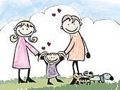 A happy family, cartoon illustration  no gradients.