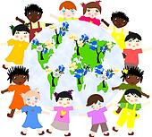Children of different races around the map of our green planet with flowering trees