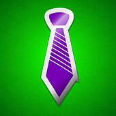 Tie icon sign. Symbol chic colored sticky label on green background.