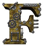 steampunk letter f