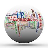 3d hr Human resources ball tags wordcloud