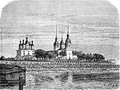 Church of Archangel, vintage engraving.