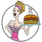 Old Fashioned Diner Waitress Serving Hamburger