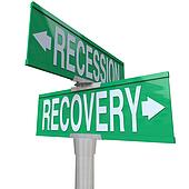 Recession Recovery Street Signs Economy Growth