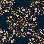 seamless pattern from flowers and berries