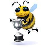 3d Honey bee holding a silver trophy
