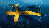 Sweden Under Water Sea Flag National Torn Bubble 3D