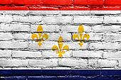 Flag of New Orleans, Louisiana, painted on brick wall